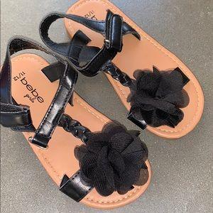 Bebe girls toddlers black sandals shoes 11 12